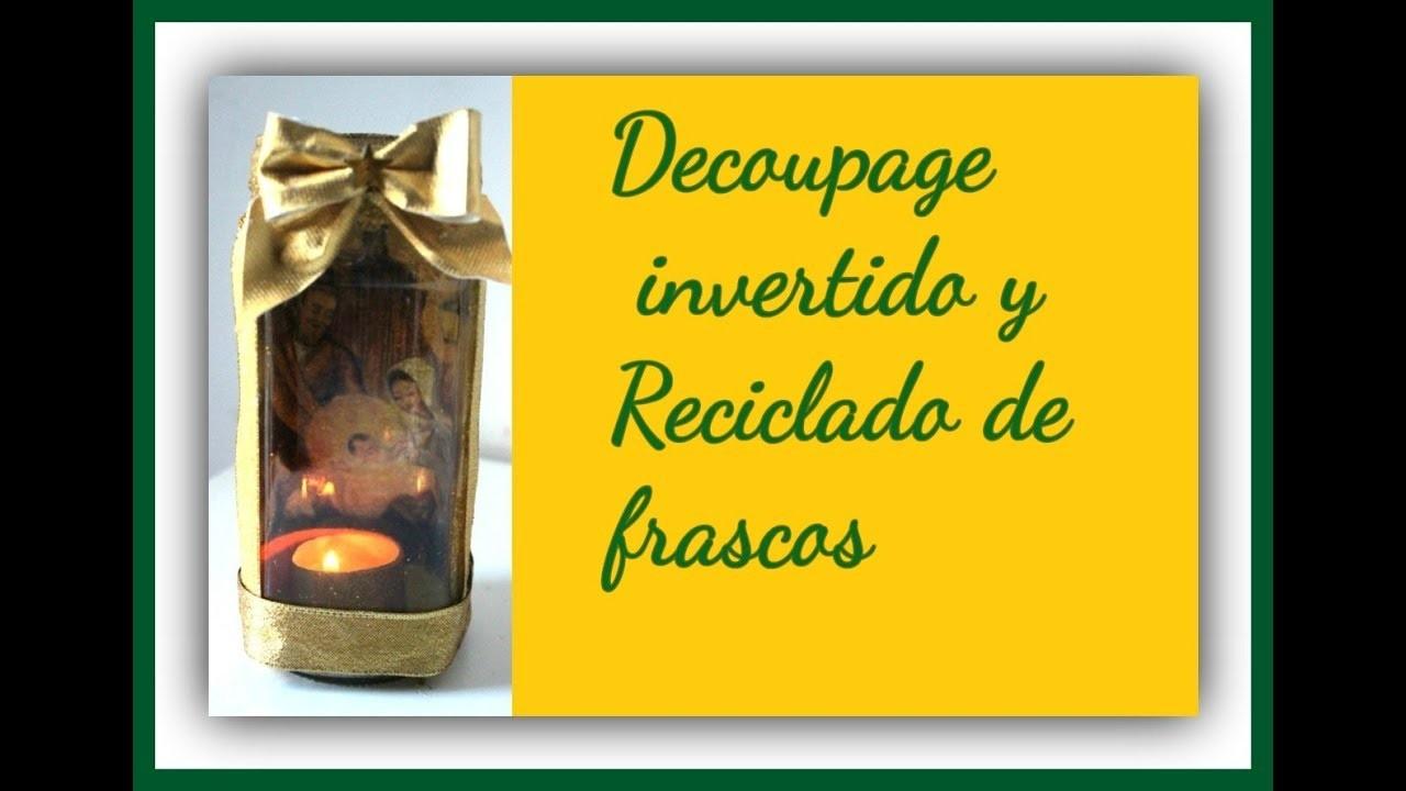 Candeleros con decoupage - Reciclado de frascos de cristal con motivo navideño - Navidad 2017 - Diy