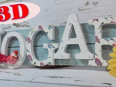 Cartel con letras en 3D. Letras de cartón decoradas DIY
