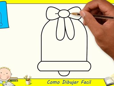 Como dibujar una campana de navidad FACIL paso a paso para niños 1