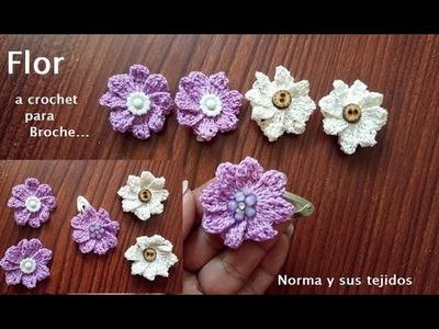 Flor a crochet para broche