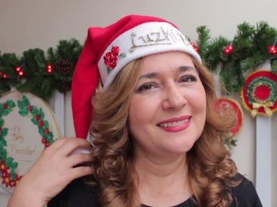 Gorro de Navidad  *paso a paso*  DIY Easy by con Luzkita.Embroidered Chirstmas hat