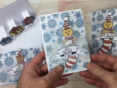 Tarjeta de Navidad 3D pop-up con diseño descargable de ositos