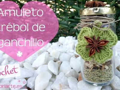 Trébol de 4 hojas de la buena suerte para amuletos o decoración. Crochet 4 leaf clover of good luck.
