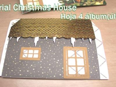 Tutorial christmas house con mini album ????hoja 4 y encuadernacion