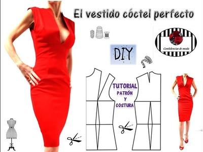 Vestido rojo forrado. Look NAVIDAD. DIY . Tutorial patrón y costura. The perfect cocktail dress.