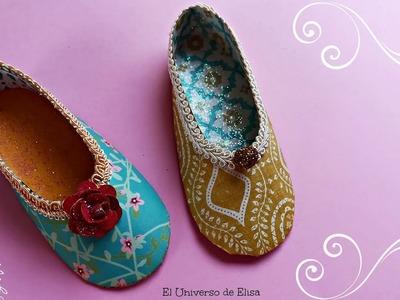 Zapato de Papel, Zapatilla María Antonieta,  Recuerdo fiesta 15 años, Recuerdo Baby shower Niña
