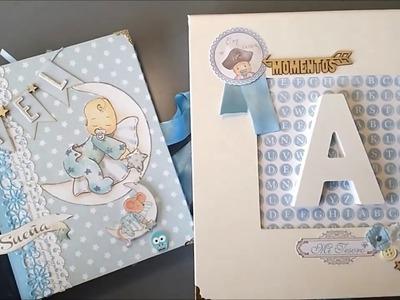 Álbum bebe niño + caja a juego scrap dayka
