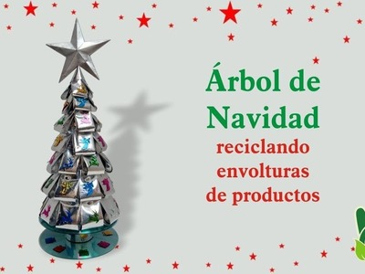 Árbol de Navidad Reciclando Envoltorios de Productos
