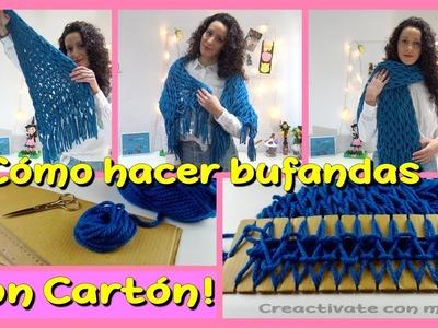 Cómo hacer bufandas de flecos CON CARTÓN!!