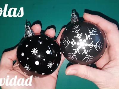 Como pintar bolas de Navidad con puntillismo -  How to paint Christmas balls with pointillism
