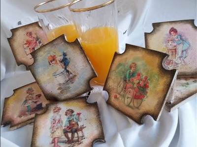 DECORAR POSAVASOS CON DECOUPAGE - DIY
