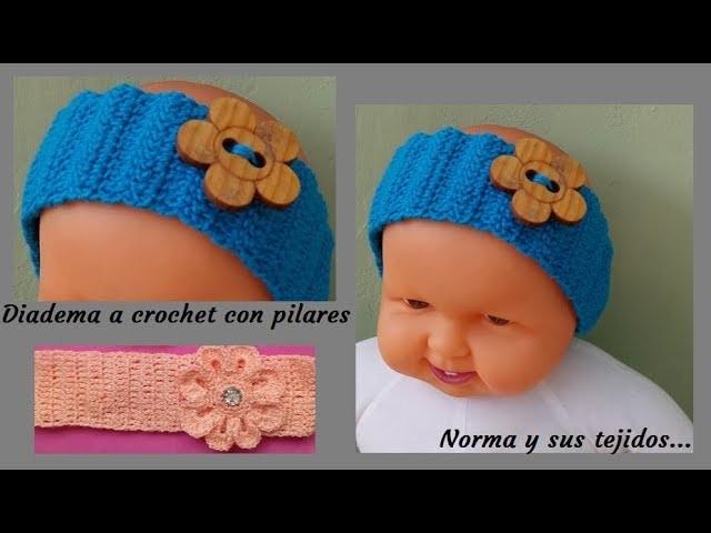 Diadema a crochet con pilares