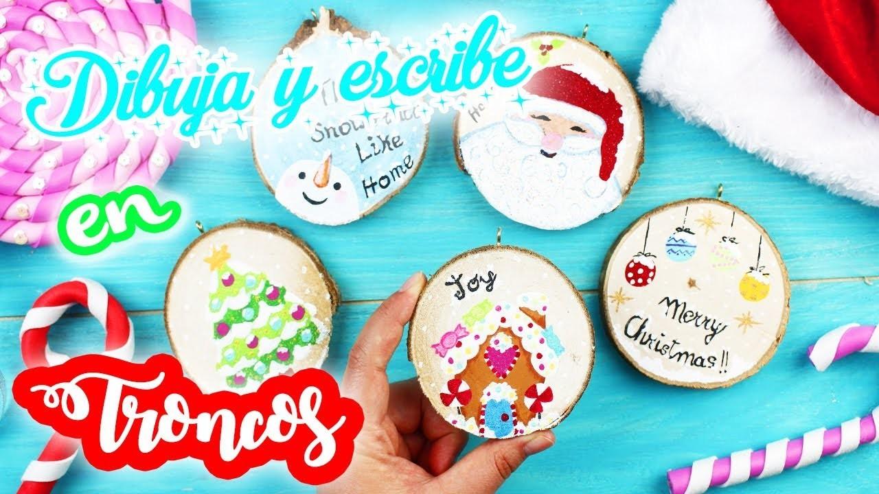 Dibujos De Navidad Creativos.Dibujos Navidenos En Troncos Reciclaje Creativo