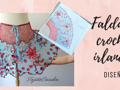 Diseño y motivos de la falda en crochet irlandés- Tejido Circulos