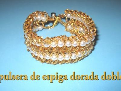 DIY - Pulsera de espiga dorada dobleDIY - Double golden tang bracelet