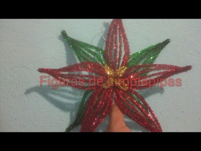 Nochebuena con Limpiapipas (Poinsettia flower with pipe cleaner)