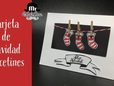 Tarjeta de Navidad calcetines o Etiqueta para nombres de mesa