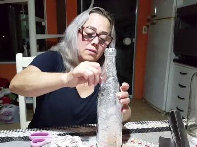 Tutorial garrafa artesanal de renda papel alumínio e betume.