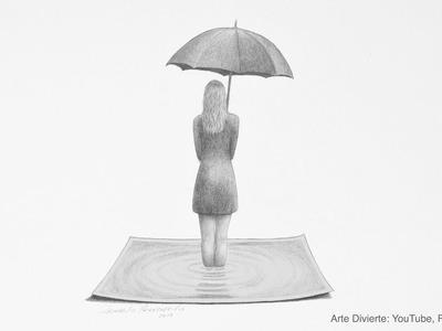 3D - Cómo dibujar una chica con paraguas - Efecto 3D fácil