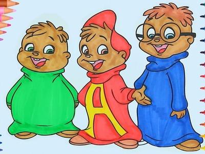 Alvin y Las Ardillas de pintar | Dibujos Para Niños | Learn Colors