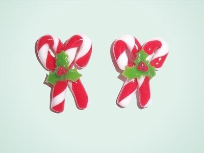 Bastones navideños - aretes de porcelana fría