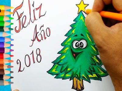 CÓMO DIBUJAR TARJETA DE FELIZ AÑO 2018-dibujos para niños-How to draw 2018 happy card-Art color kids