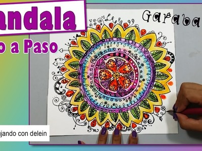 Como dibujar un mandala paso a paso, Mandala Garabato #17