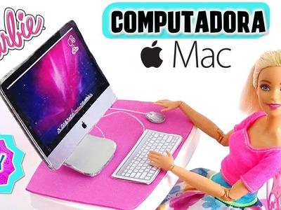 Como hacer COMPUTADORA Mac de ESCRITORIO para MUÑECAS Barbie muy FÁCIL! MANUALIDADES PARA MUÑECAS