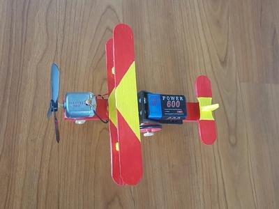 Como Hacer un Avión Casero Con Palitos de Helado | Avion eléctrico DIY
