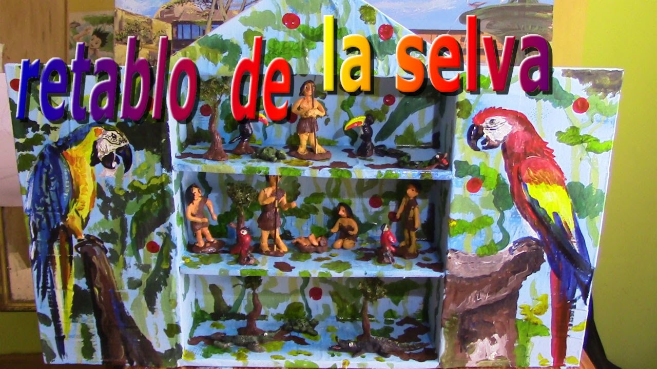 Como hacer un retablo de la selva  how to make an altarpiece of the jungle , retábulo da selva