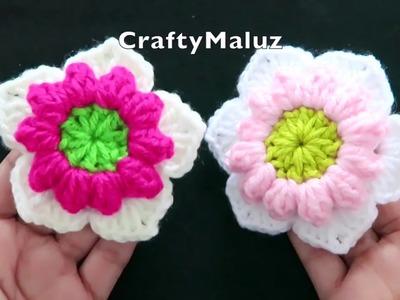 #CROCHET#TUTORIAL#FLOR TEJIDA EN PUNTO POPCORN DE 5 PETALOS | flor tejida fácil y bonita