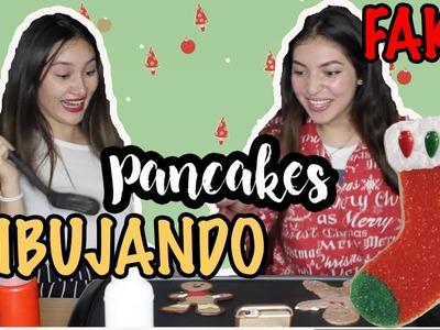 DIBUJANDO CON COMIDA! NAVIDAD - Christmas Pancake Art Challenge ft  Maria Tovar