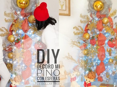 DIY Decore mi Pino con esferas de Dollar Tree sin gastar ( Segunda parte Decora tu sala)