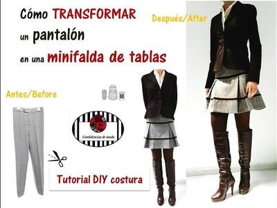 DIY. Transformar un pantalón en una minifalda.Sin patrones. Transform a trousers into a miniskirt.