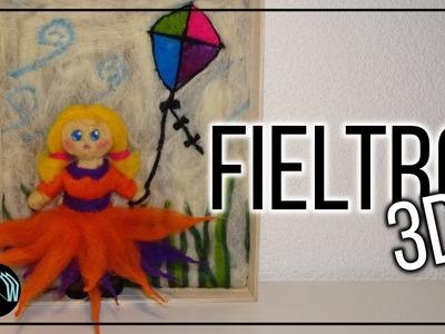 FIELTRO seco · VELLÓN agujado Muñeca. niña con volumen 3D. Needle Felted Girl. Lana Wolle
