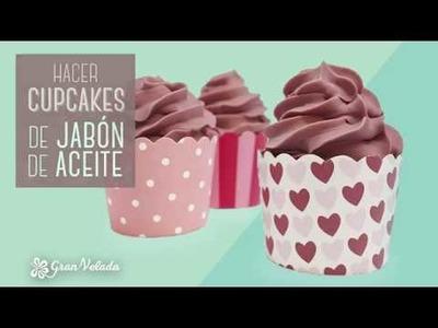 Jabon de aceite en forma de cupcakes