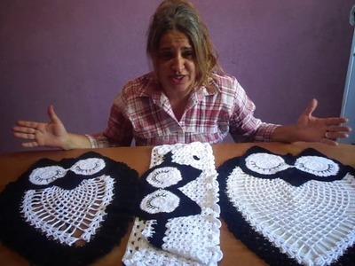 Juego de baño-lechuzas-crochet