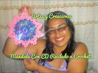 MANDALA CON CD RECICLADO TEJIDO A CROCHET