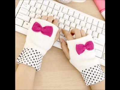 Mitones o guantes sin dedos de crochet tejidos a mano con ganchillo