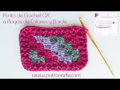 Punto C2C de Crochet a Rayas - Manta C2C Crochet