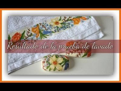 Resultado de la prueba de lavado de la toalla con decoupage - Técnicas decorativas -