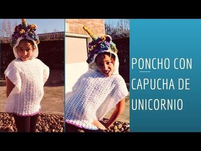 Como hacer Hermoso  Poncho con Capucha de  Unicornio