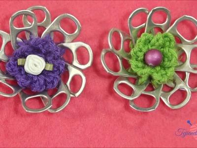 Como hacer una flor con anillas de lata
