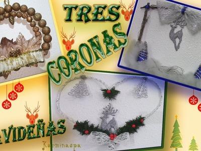 Decoración Navideña ????3 CORONAS NAVIDEÑAS paso a paso???? ????DIY Manualidades para Navidad???? ⛄karminaspa⛄