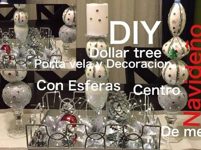 DIY Dollar Tree ????porta vela y Decoracion navideña centro de mesa
