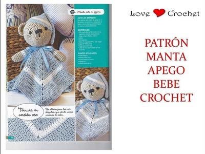MANTA APEGO de bebe  con oso a crochet patrón gratis