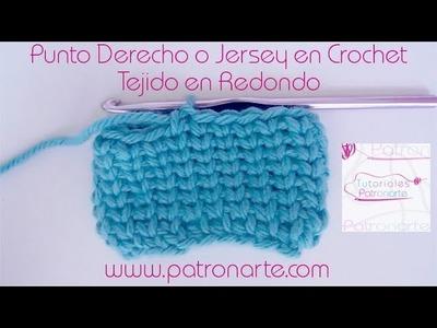 Punto Derecho en Crochet Tejido en Redondo