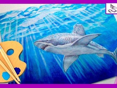 Como Dibujar un TIBURON ???? en el Océano   Técnica Mixta Acuarela  Acrílico y Lápices de Colores