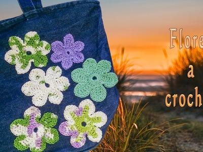 Cómo hacer flores fáciles a ganchillo para reciclar un bolso vaquero