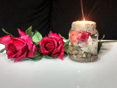 Como hacer un centro de mesa romantico reciclando un bote de cristal